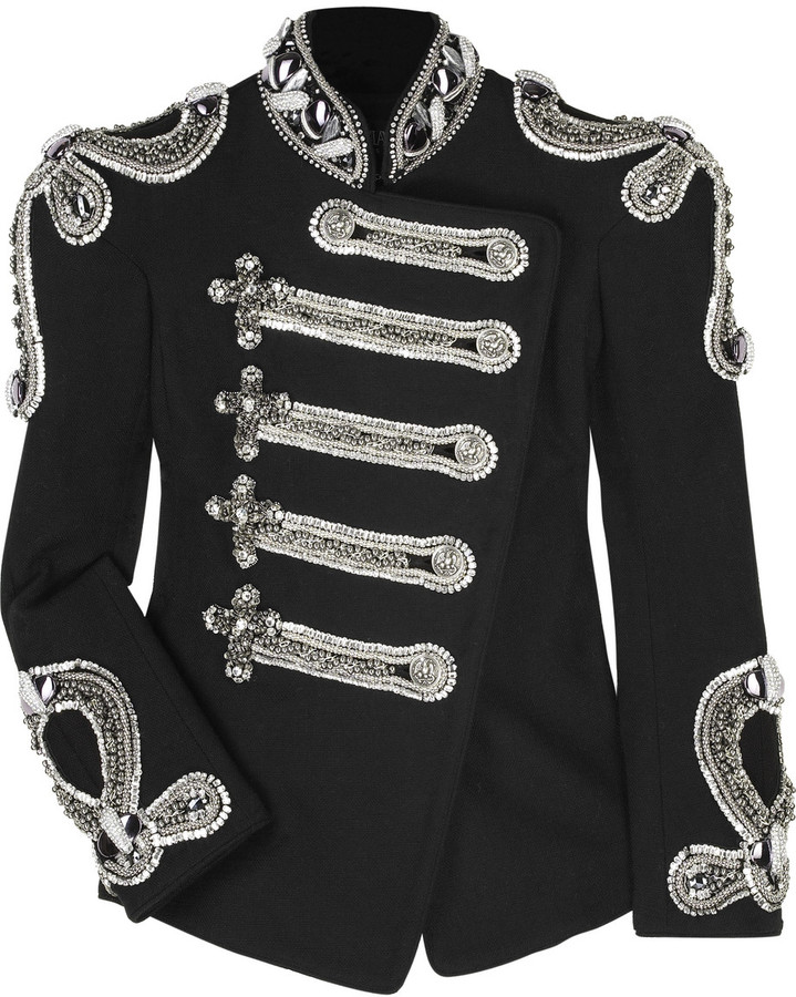 Balmain Crystal-embellished canvas jacket