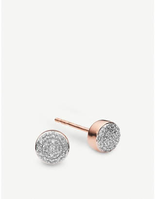 Monica Vinader Fiji Mini Button 18ct rose-gold vermeil and diamond stud earrings