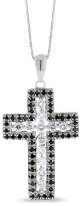 14k White Gold 0.85 Ct. Natural White/Black Diamond Cross Pendant