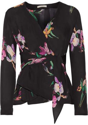 Etro - Floral-print Silk Crepe De Chine Wrap Blouse - Black $960 thestylecure.com