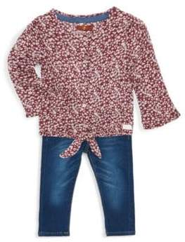 7 For All Mankind Little Girl's Two-Piece Floral Top & Jeans Set