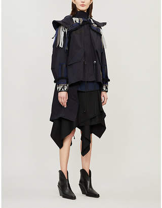 Sacai Pendleton Oxford contrast frill-trimmed cotton-blend jacket
