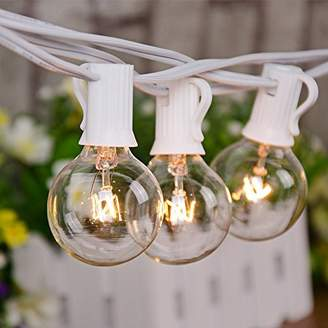 Sunsgne 25Ft Globe string lights with G40 Bulbs (Plus 2 Extra Bulbs) UL Listed Backyard Patio Lights Garden Party Natural Warm Bulbs Cafe Hanging Umbrella Lights on Light String Indoor Outdoor-White