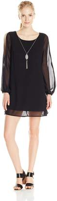 As U Wish Junior's Long Sleeve Cold Shoulder Shift Dress with Necklace