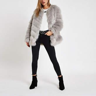 River Island Grey faux fur chevron panelled coat