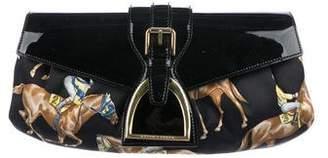 Ralph Lauren Patent Leather-Trimmed Satin Clutch