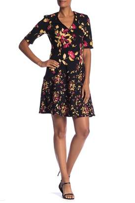 London Times Elbow Sleeve V-Neck Floral Print Dress