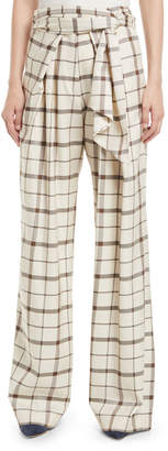 Christian Wijnants Palash Belted Check Wide-Leg Pants