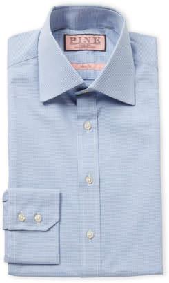 Thomas Pink White & Blue Check Print Slim Fit Dress Shirt