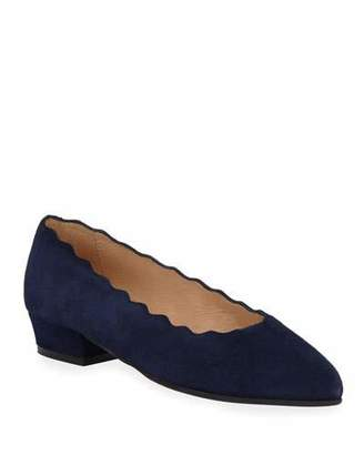 Sesto Meucci Ally Scalloped Suede Low-Heel Pumps
