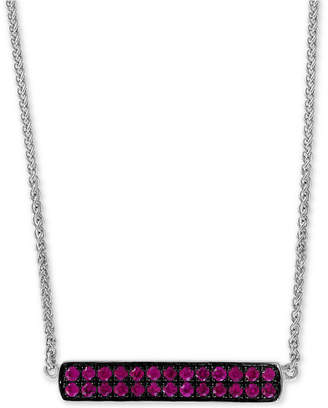 """Effy Ruby Cluster Horizontal Bar 18"""" Pendant Necklace (5/8 ct. t.w.) in Sterling Silver"""
