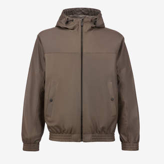 Bally Reversible Leather Hooded Jacket Grey, Men's lamb leather and nylon jacket in snuff