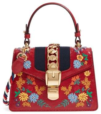 Gucci Mini Sylvie Flower Embroidery Leather Shoulder Bag