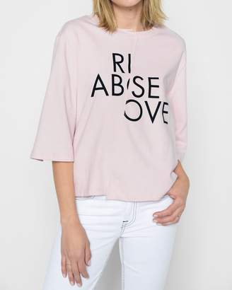 "7 For All Mankind Rise Above"" 3/4'' Sleeve Tee in Pink Sunrise"