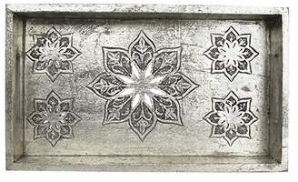 Mela Artisans Serena Tray Small in Distressed Silver