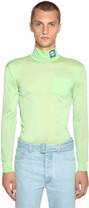 Prada Jersey Turtleneck Sweater W/ Logo Patch