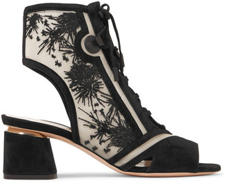 Phoenix Cutout Embroidered Mesh And Suede Sandals - Black
