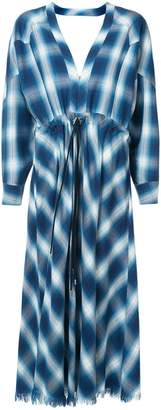 Jonathan Simkhai plaid drawstring waist dress