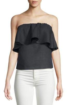 Saks Fifth Avenue BLACK Linen Strapless Top