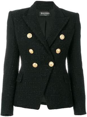 Balmain button-embellished tweed jacket