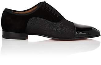 Christian Louboutin Men's Greggo Flat Leather & Shantung Balmorals - Black