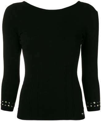 Twin-Set studded-cuffs fitted sweater