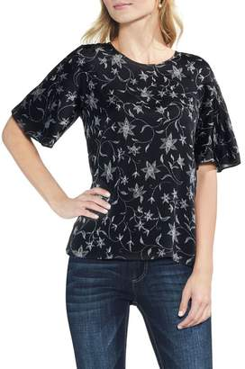 Vince Camuto Faux Stitch Ruffle Sleeve Top