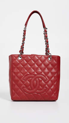Chanel What Goes Around Comes Around Red Caviar Petite Shopper Tote
