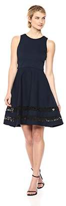 Eliza J Women's Fit and Flare Dress with Lace Panels