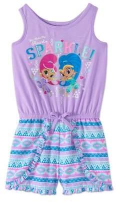 SHIMMER AND SHINE Shimmer And Shine Toddler Girl Sleeveless Tank Shorts Romper