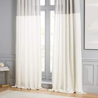 west elm Belgian Flax Linen Contrast Stripe Curtain - Stone White/Slate