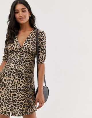 9ff0e874f427 AllSaints kota leopard print mini tea dress