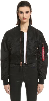 Slim Fit Nylon Cropped Bomber Jacket $193 thestylecure.com