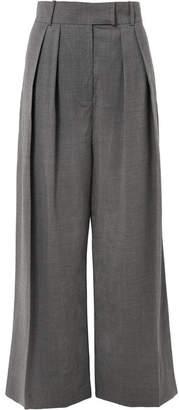 Awake Pleated Wool-blend Wide-leg Pants - Dark gray