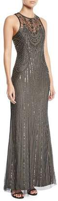 Parker Black Blakely Sleeveless Beaded Gown Dress