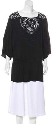Ella Moss Embroidered Short Sleeve Top