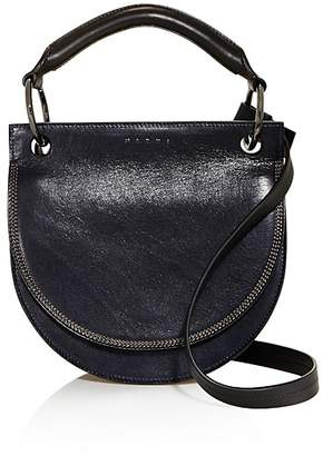 Marni Color Block Leather and Suede Saddle Bag