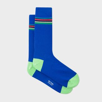 Men's 'Cycle Stripe' Trim Cobalt Blue Ribbed Socks $30 thestylecure.com