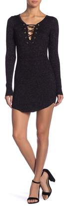 Planet Gold Marled Metallic Long Sleeve Sweater Dress