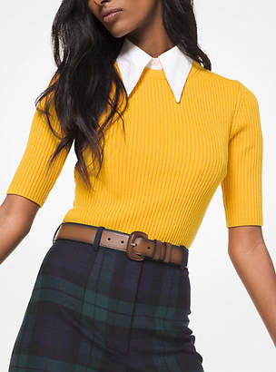 Michael Kors Cashmere-Blend Ribbed Pullover