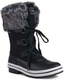 London Fog Avalon II Mid-Calf Faux Fur Trim Boots