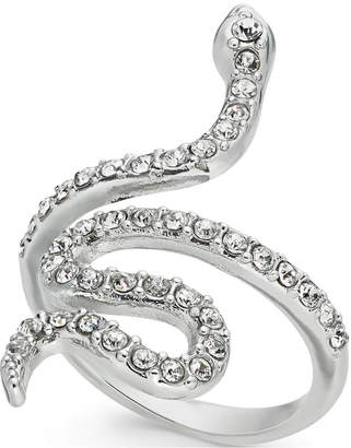 I.n.c. Woman Silver-Tone Pave Snake Statement Ring, Created for Macy's