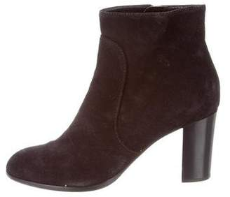 Sergio Rossi Suede Round-Toe Ankle Boots