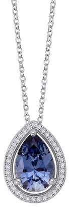 Lafonn Platinum Plated Sterling Silver Simulated Diamond & Simulated Tanzanite Pendant Necklace
