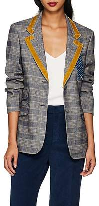 THE GIGI Women's Alba Velvet-Trimmed Checked Blazer