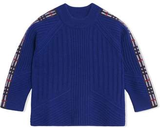 Burberry TEEN Check Detail Wool Cashmere Sweater