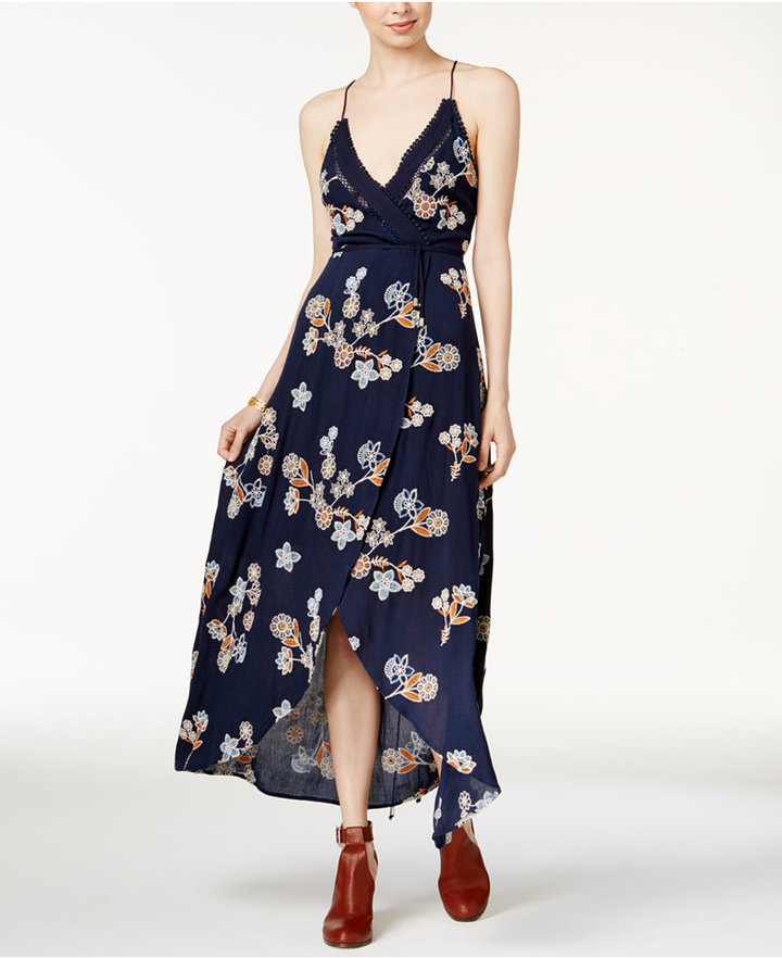 J.o.a. Embroidered Wrap Dress