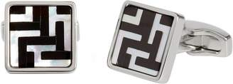 Simon Carter Mens Mother of Pearl and Onyx Labyrinth Cufflinks - White/