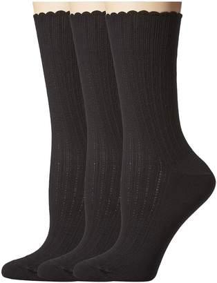 Hue Scalloped Pointelle Socks 3-Pack Women's Crew Cut Socks Shoes