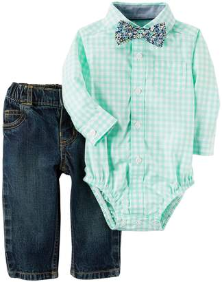 Carter's Baby Boy Bodysuit with Bowtie & Jeans Set